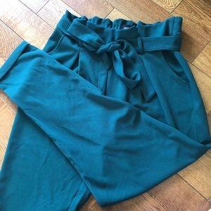 Green paper bag pant